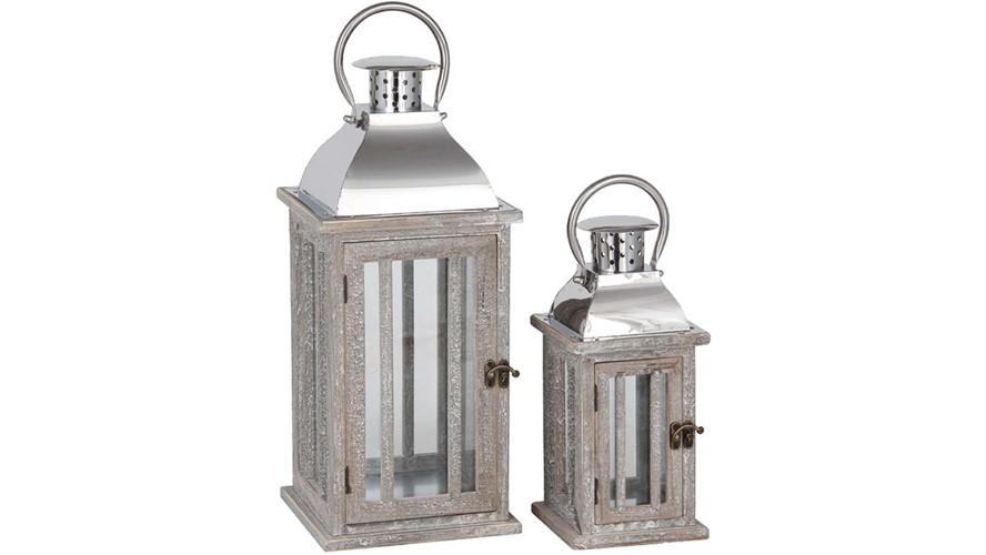 Natural Wood & Metal Lantern