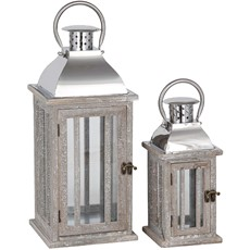 Natural Wood & Metal Lantern
