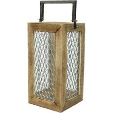 Mango Wood Lantern with Handle - Natural