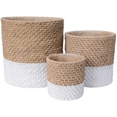 Cement Planter with Natural Woven Top