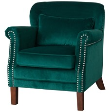 Low Backed Studded Emerald Velvet Armchair