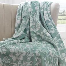 Pascal Floral Fleece Throw - Jade