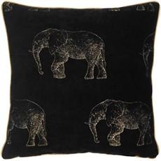 Safari Elephant Luxe Square Cushion - Gold
