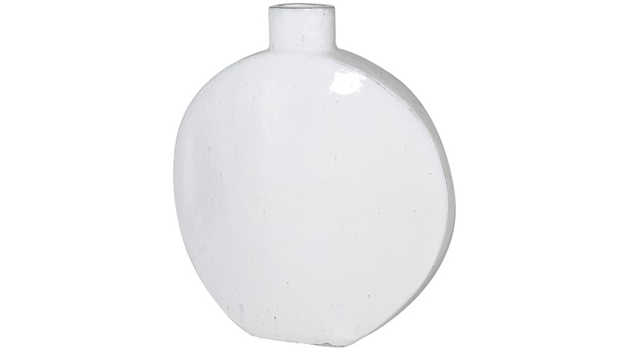 Large Ceramic Round Vase - White