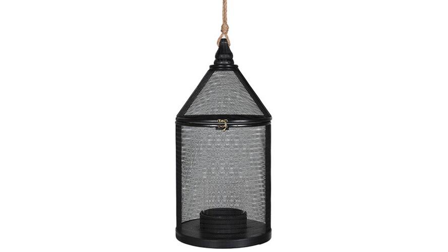 Round Woven Lantern - Black