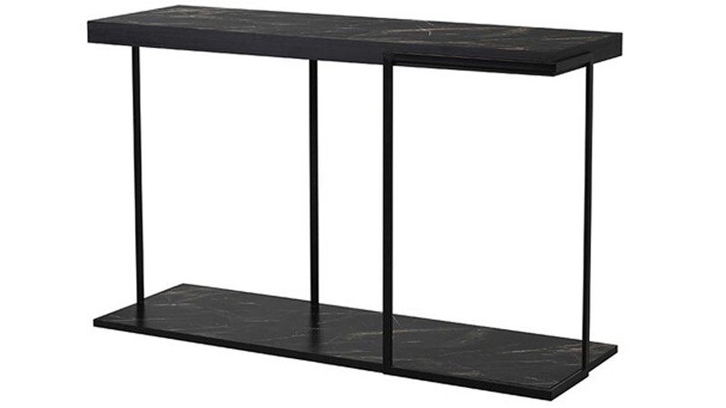 Faux Marble Console Table - Black