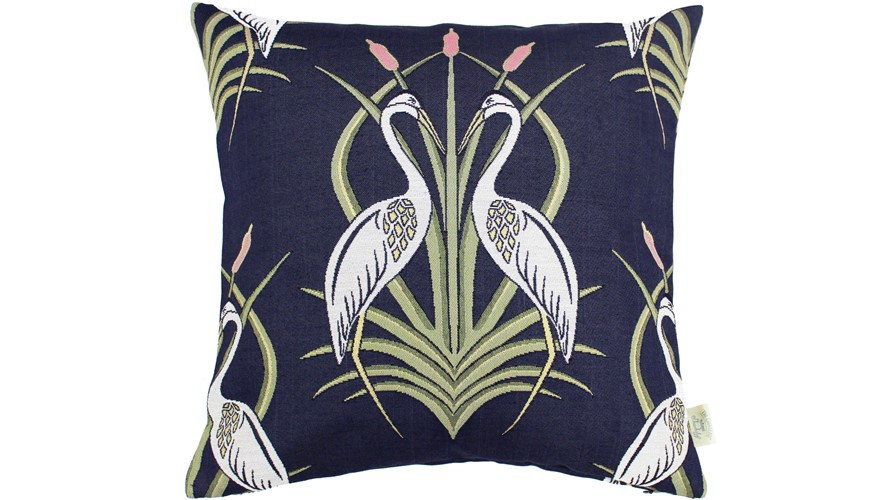 Chateau Heron Square Cushion - Moat Navy