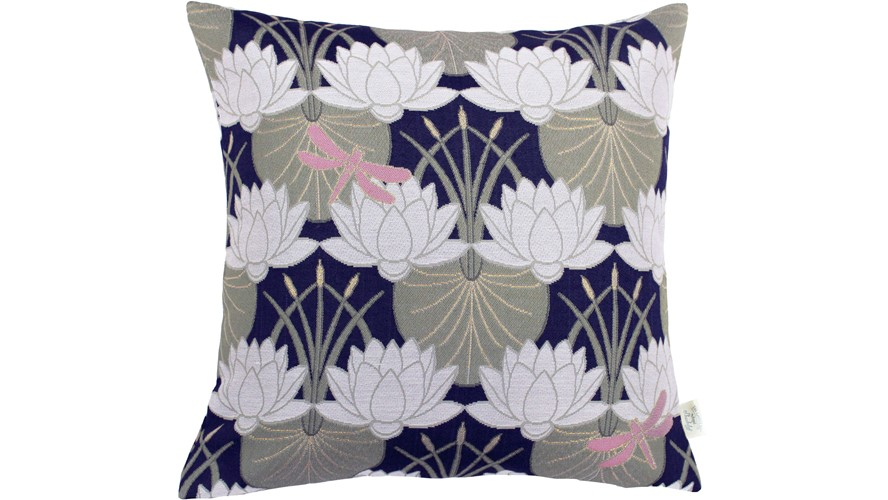 Chateau Square Lilypad Cushion - Navy
