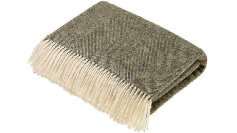 Shetland Vintage Throw - Herringbone Grey