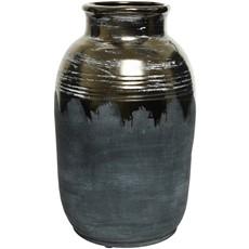 Stoneware Metallic Vase - Brown