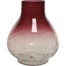 Fading Luster Crackle Bulbous Glass Vase