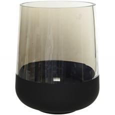 Luster Flock Glass Hurricane - Black