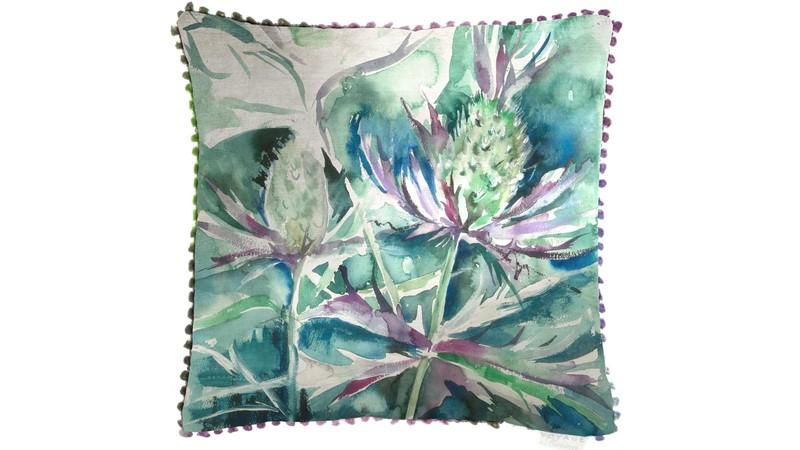 Velvet Sea Thistle Square Cushion