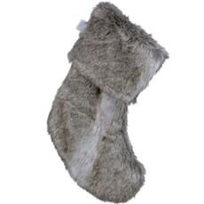 Faux Fur Xmas Stocking - Brown