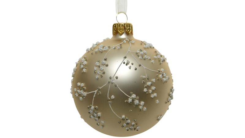 Glitter Bauble with Pearl Branch