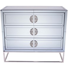 Mirrored Glass Unit 3 Drawer
