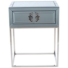 Mirrored Glass Unit 1 Drawer - Grey