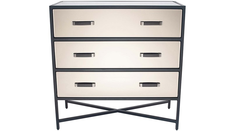 Mirrored Glass Chest of 3 Drawers