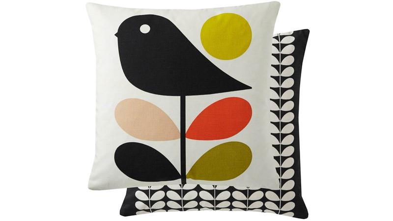 Orla Kiely Early Bird Square Cushion - Pale Rose
