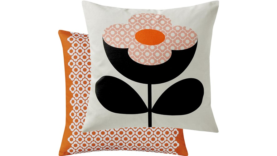 Orla Kiely Buttercup Square Cushion - Persimmon