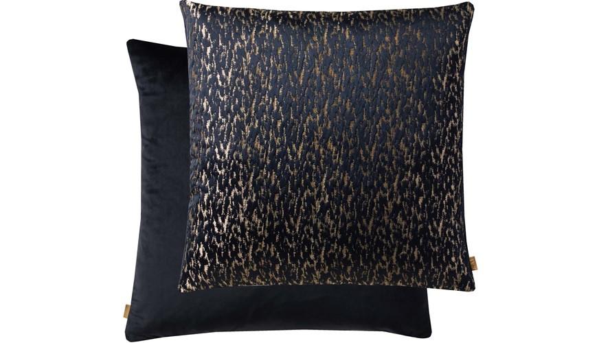 Kai Metallic Square Cushion - Navy & Gold