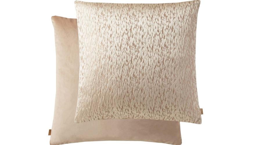 Kai Metallic Square Cushion - Peach Cream