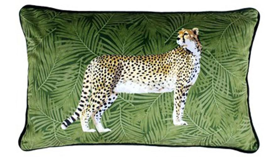 Cheetah Forest Square Cushion - Green