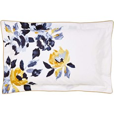 Joules Galley Grade Floral Oxford Pillow Case - Blue & Gold