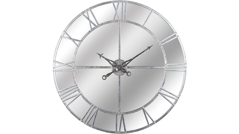 Mirrored Silver Foil Wall Clock Small Sterling Furniture