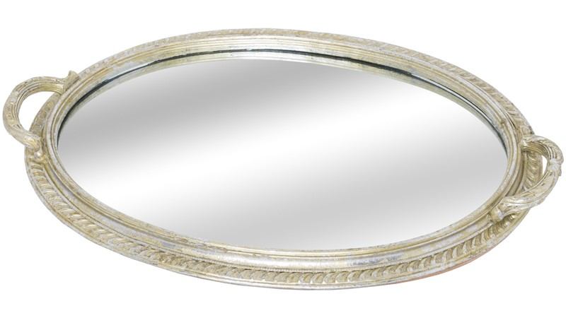 Oval Antique Mirrored Tray With Handles
