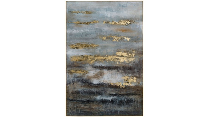 Abstract Framed Print - Grey & Gold