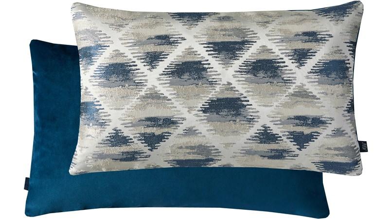 Geometric Rectangle Cushion - Blue