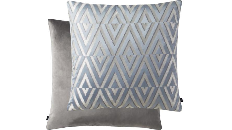 Geometric Rectangle Cushion - Blue & Silver