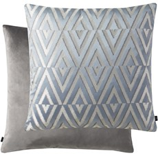 Geometric Rectangle Cushion - Blue & Silver