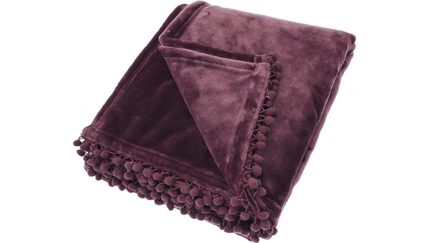 Cashmere Touch Fleece Throw - Mulberry