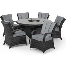 Eden Flatweave 6 Seat Round Dining Set with Ice Bucket & Lazy Susan