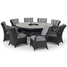 Eden Flatweave 8 Seat Round Dining Set with Ice Bucket & Lazy Susan