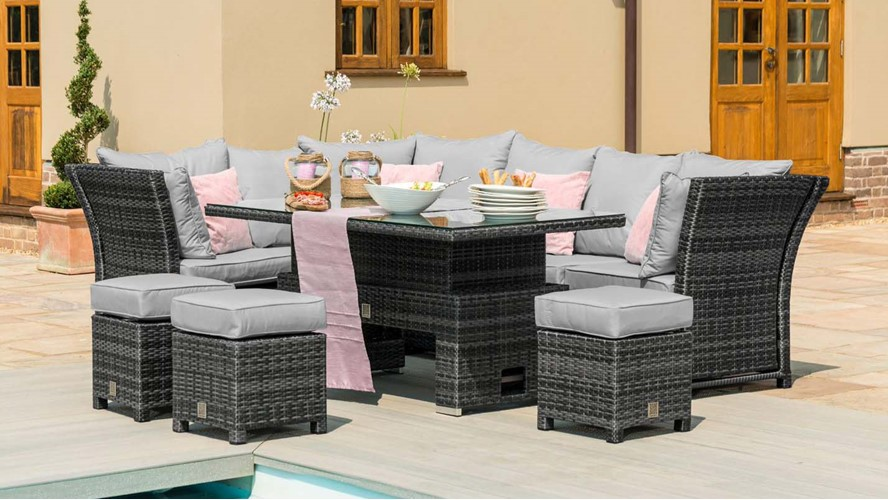 Eden Flatweave Reclining Corner Dining Set with Rising Table