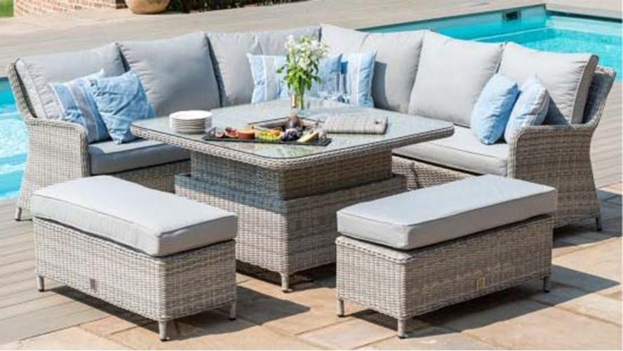 Eden 6 Piece Square Corner Dining Set with Fire Pit