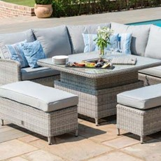 Eden Flatweave 6 Piece Square Corner Dining Set with Fire Pit