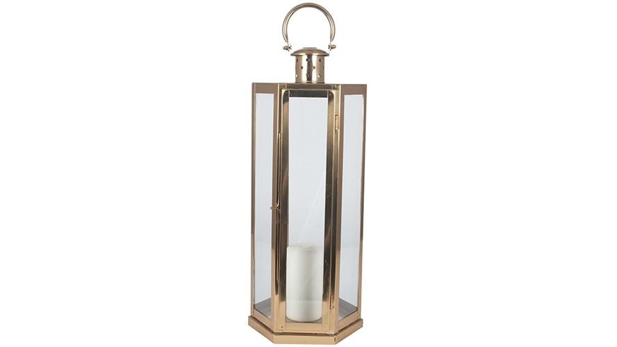 Antique Brass Steel & Glass Lantern
