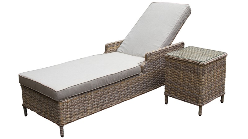 Country Sunlounger & Side Table Set