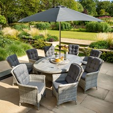 Heritage 8 Seat Oval Dining with Ceramic Glass Top & Parasol