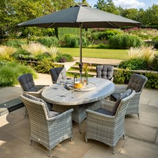 Heritage 6 Seat Oval Dining with Ceramic Glass Top & Parasol