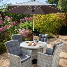 Heritage 4 Seat Round Dining with Ceramic Glass Top & Parasol