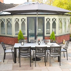 Aluminium Saturn Pewter 8 Seater Rectangle Dining Set with parasol