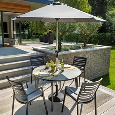 Aluminium Saturn Aluminium Saturn Pewter 4 Seater Round Dining Set with parasol
