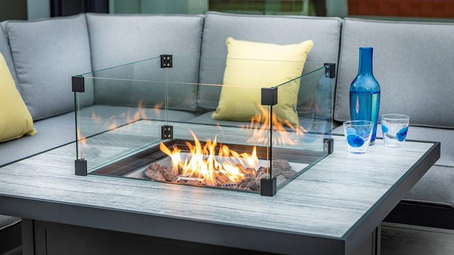 Aluminium Saturn Mercury 2 Seater Sofa Set with Fire Pit