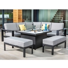 Aluminium Saturn Aluminium Saturn Mercury Corner Dining Set with Fire Pit