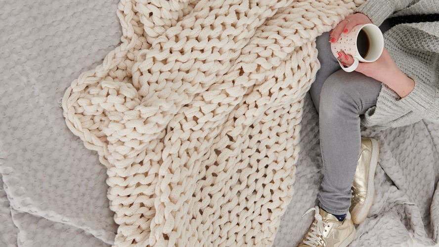 Chunky Knit Blanket Cream